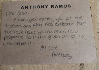 Anthony Ramos Monsters And Menhand Signed Letter Thank You Autograph 22