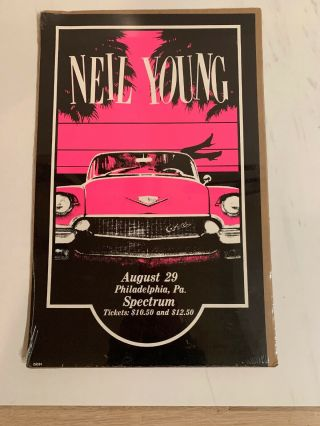 Neil Young & The Shocking Pinks Vintage Poster August 29,  1983 Philadelphia,  Pa