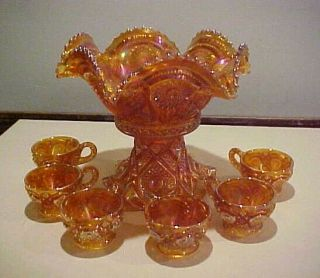 Vintage Imperial Carnival Glass Punch Bowl Set W/ 6 Cups.  All Not Signed