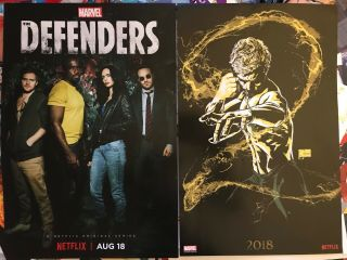Sdcc Comic Con Marvel Netflix Defenders & Iron Fist Posters Set Of 2 Exclusive