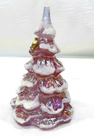 Vintage Fenton Christmas Tree Pink/purple Iridescent Flocked With Gold Bird 6 ""