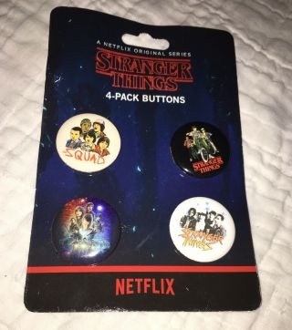 Stranger Things Set Of 4 Button Pins Official Merchandise Squad