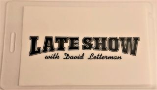 Late Show With David Letterman On Cbs - Laminated Backstage Pass