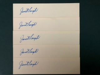 """Janet Leigh 5 Vintage """" Absolutely Authentic """" Autographs Only $9.  50"""