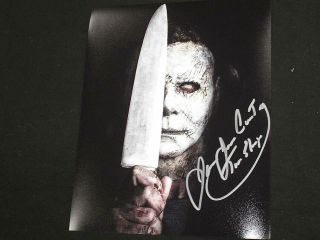 James Jude Courtney Signed Michael Myers 8x10 Photo The Shape Halloween 2018 C