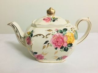 Sadler Cube Pink And Yellow Cabbage Rose Teapot Very Rare England Bone China