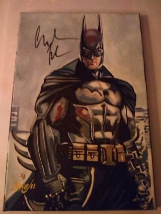 Christain Bale Signed Painting Comes W/ My Ny Comic Con All Access Pass