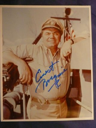 Ernest Borgnine Signed 8 X 10 Color Photo With