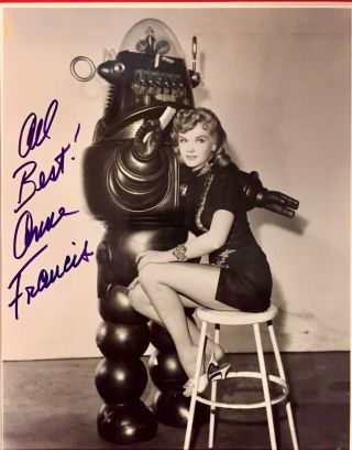 Forbidden Planet: Anne Francis Autographed 8x10 Publicity Photo Featuring Robby