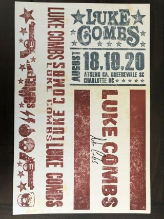 Luke Combs Autographed Poster 11x 17