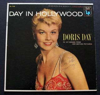 Vintage Doris Day Signed Autographed Vinyl Album Day In Hollywood From 1955