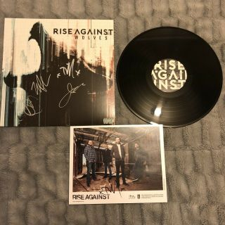 """Rise Against Wolves Autographed 12"""" Vinyl (signed Record),  Signed 8 X 10 Photo"""