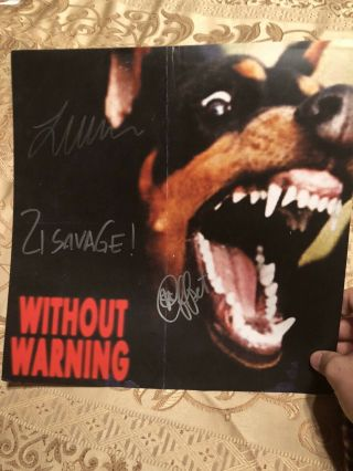 21 Savage Offset Of Migos Metro Boomin Autographed 12x12 Without Warning Poster