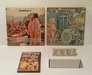 Woodstock 1 & 2 Vinyl Lps,  3 Day Ticket,  Woodstock Movie Dvd,  Bonus