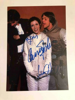 Carrie Fisher Mark Hamill Harrison Ford Star Wars Signed Autograph 6x8 Photo