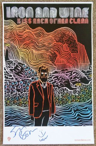 Signed Iron And Wine Album Poster In - Person W/proof Autograph Sam Beam Kiss Each