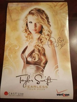"Hand Signed Taylor Swift 2009 "" Fearless "" Tour Poster,"