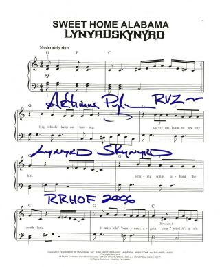 Artimus Pyle Real Hand Signed Lynyrd Skynyrd Sweet Home Alabama Sheet Music