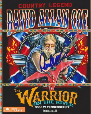 Autographed David Allan Coe Signed Photo Country Music Outlaw Dac American Biker