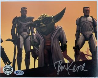 Tom Kane Signed Yoda 8x10 Photo Star Wars Rebels Official Pix Beckett Bas