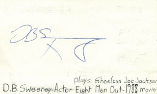 Db Sweeney Actor Shoeless Joe Eight Men Out Movie Autographed Signed Index Card
