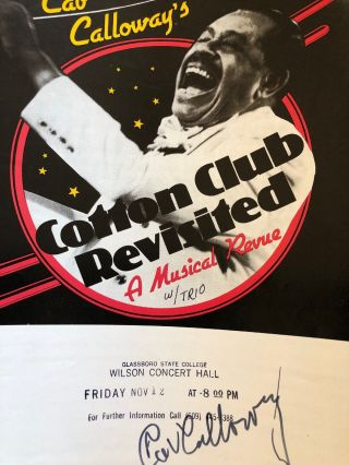 Cab Calloway Hand Signed Autograph On Flyer For Performance