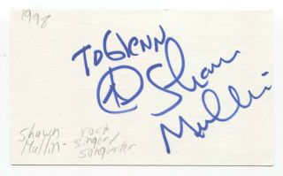 Shawn Mullins Signed 3x5 Index Card Autographed Signature Singer