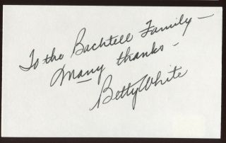 Betty White Signed Index Card Signature Autographed Auto Golden Girls
