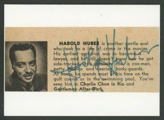"""Harold Huber (1909 - 1959) Autograph Cut 