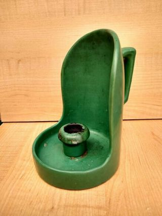 Vintage Roseville Pottery Matte Green Chamber Candle Holder 1910