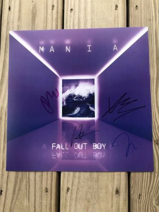 Fall Out Boy Autographed Lithograph Poster Mania Fob 12x12 Signed Pete Wentz
