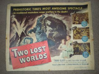 Two Lost Worlds (1951) James Arness Half Sheet Horror