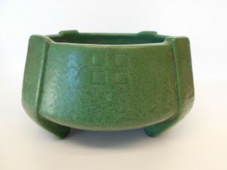 Weller Pottery,  Bedford Matt Green,  Footed Bowl Pot,  Arts & Crafts 1920
