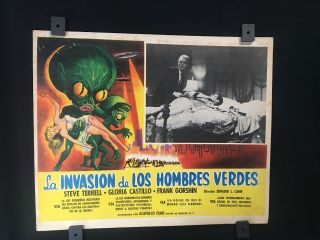 "1957 Invasion Of The Saucer Men Authentic Mexican Art Lobby Card 14 "" X11 """
