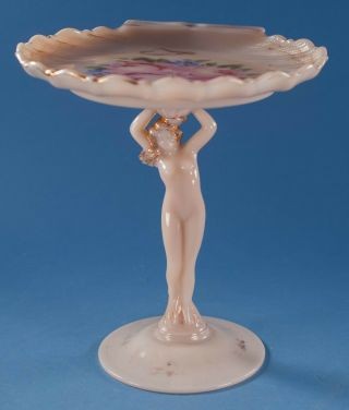 Cambridge Glass Crown Tuscan Charleton Rose Nude Shell Compote