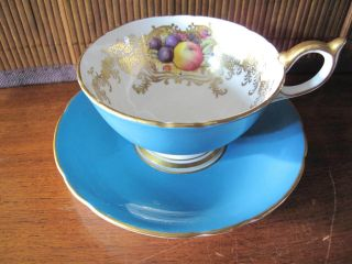 Aynsley Bone China Footed Cup & Saucer Turquoise Orchard Fruit Rich Gold 2684
