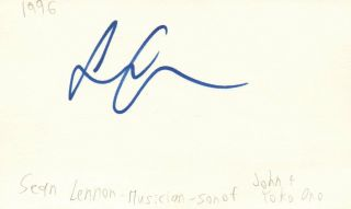 Sean Lennon Musician Son Of John Lennon And Yoko Autographed Signed Index Card