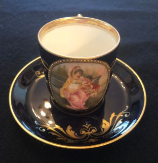 Antique Royal Vienna Hand Painted Porcelain Portrait Demitasse Cup And Saucer
