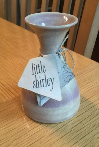 """Collectible Laurel Burman Little Shirley Material Good Vase 3 - 7/8 """" W/tag"""