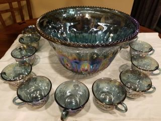 Vintage Blue Harvest Grape Carnival Glass Punch Bowl And 11 Matching Glasses