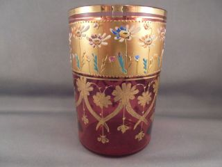 Old Antique Moser Art Glass Cranberry & Gold Enameled Daisy Tumbler