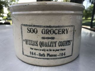 Rare Red Wing Stoneware Advertising Soo Grocery Sioux Falls,  Sd Butter Crock