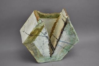 Abstract Brutalist Art Pottery Ceramic Hexagon Painted Glazed