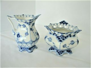 Royal Copenhagen Blue Fluted Full Lace Gargoyle Creamer & Sugar Set