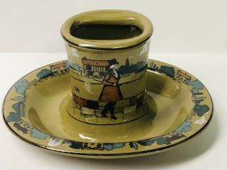 Rare Buffalo Pottery Deldare Ware Village Life Ashtray Dated 1909 Cond