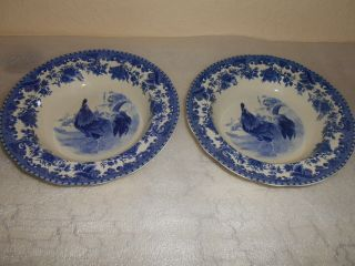 6 Tabletops Gallery William James Farmyard Blue Rimmed Bowls Rooster