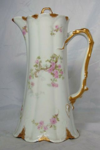 Theodore Haviland French Limoges Porcelain Schleiger Chocolate Pot Pink Rose