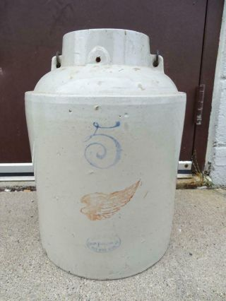 Antique Red Wing Applesauce 5 Gallon Crock Stoneware Large Mouth Vintage Old