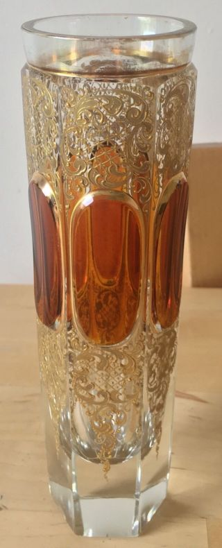 """Antique Moser Bohemian Czech Glass Facetted Amber & Gold 7.  25 """" Vase Or Cup"""