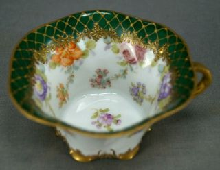 Hirsch Dresden Hand Painted Floral Green & Raised Gold Tea Cup C.  1893 - 1930